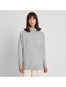 Women Souffle Yarn Turtleneck Tunic by Uniqlo