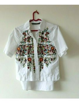 Size 8 Zara Blouse Shirt White Cotton With Floral Embroidery   Short Sleeve by Ebay Seller