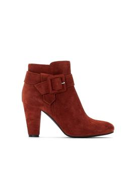 Suede High Heeled Boots With Buckle Trim by La Redoute Collections