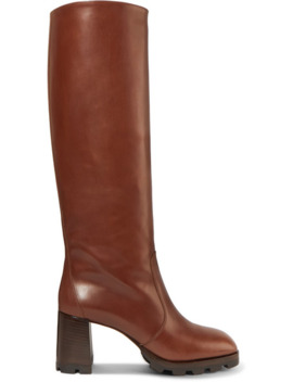 80 Leather Knee Boots by Prada