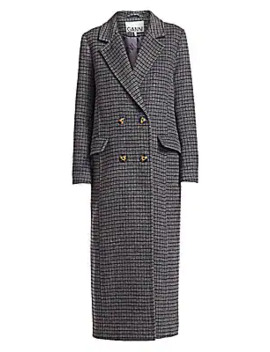 Check Wool Blend Coat by Ganni