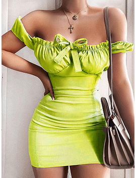 Green V Neck Tie Front Puff Sleeve Bodycon Mini Dress by Choies
