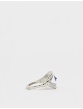Asos Design Ring In Enamel Eye Design In Silver Tone by Asos Design