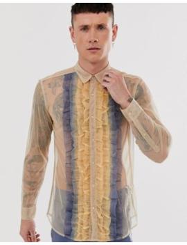 Asos Edition – Tonad Skjorta I Mesh Med Rynkade Detaljer Och Normal Passform by Asos Edition