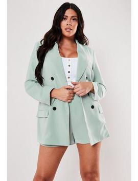 Plus Size Mint Co Ord Oversized Button Front Blazer by Missguided