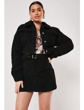 Black Co Ord Borg Utility Cropped Jacket by Missguided