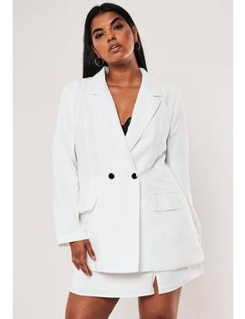 Plus Size White Co Ord Long Double Button Blazer by Missguided