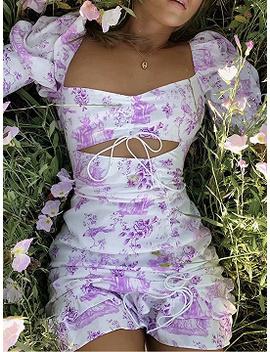 Purple Square Neck Floral Print Ruffle Trim Puff Sleeve Mini Dress by Choies
