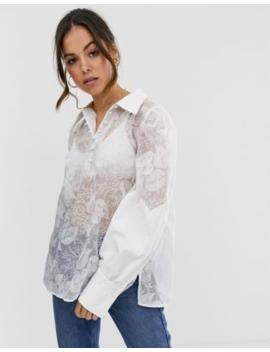 Ghospell – Mesh Skjorta I Oversize Med Broderade Blommor by Ghospell