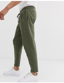 Asos Design Tapered Joggers With Pleats In Khaki by Asos Design