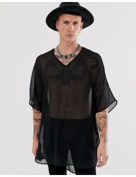 Asos Design – Svart Skir överdragsskjorta I Oversize Modell Med Kimonoärmar by Asos Design