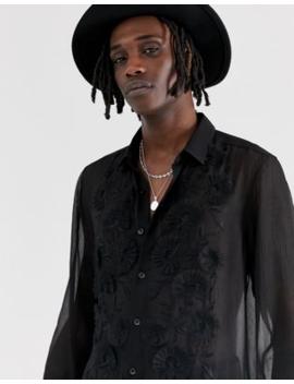 Asos Design – Svart, Genomskinlig Skjorta Med Normal Passform Och Broderier Framtill by Asos Design