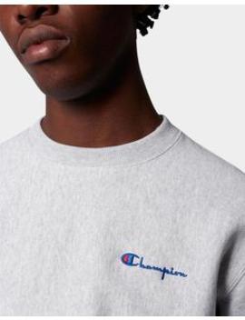 Reverse Weave Brushed Fleece Sweatshirt Vertical Logo Grey by Champion