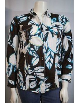 Chico's Misses 3 Xl 16 18 Brown White Blue Floral Print Ls Button Up Shirt Top by Chico's