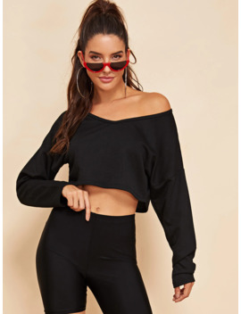 Drop Shoulder Crop Pullover by Romwe