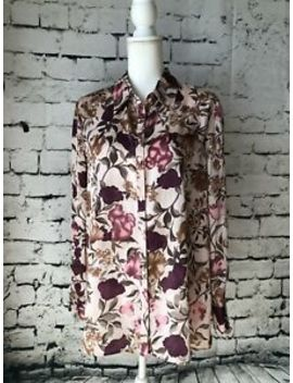 Jaclyn Smith 16 18 Blouse Button Up Silky Long Sleeve Tunic Floral Euc   C by Jaclyn Smith