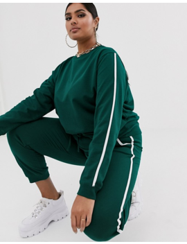 Asos Design Curve   Ensemble Sweat Shirt Et Pantalon De Jogging à Nouer Avec Bordures Contrastées by Asos Design