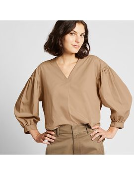 Blusa Cotone Collo A V Maniche 3/4 Voluminose Donna by Uniqlo