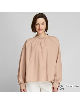 Blusa Cotone Collo Alto Maniche Lunghe Voluminose Donna by Uniqlo