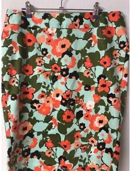 Lane Bryant Orange Green Poppy Floral Print Straight Pencil Skirt Size 14 by Lane Bryant