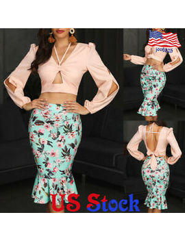Women Lady Floral Printed Skirt High Waist  Pencil Dress Slim Fit Evening Party by Unbranded