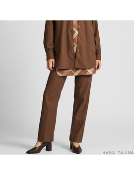 Women Hana Tajima Herringbone Print Straight Leg Trousers by Uniqlo