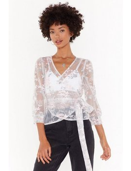 Embroidered Floral Wrap Blouse by Nasty Gal