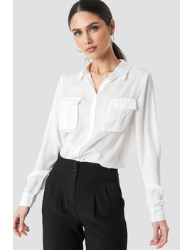 Chest Pocket Satin Shirt Hvid by Na Kd