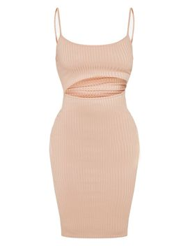 Stone Ribbed Cut Out Strappy Midi Dress by Prettylittlething