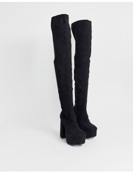 Asos Design Knockout Platform Thigh High Boots In Black by Asos Design