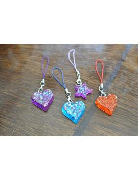 Glitter Heart And Star Shaped Resin Phone Charms by Etsy