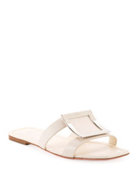 Flat Leather Buckle Sandals by Roger Vivier