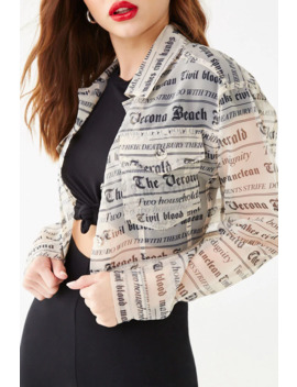 Sheer Headline Graphic Jacket by Forever 21