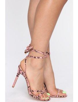 Revolution Heeled Sandals   Pink Snake by Fashion Nova