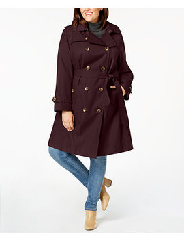 Plus Size Double Breasted Hooded Trench Coat, Created For Macy's by General
