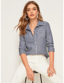 Striped Pocket Button Front Blouse by Romwe