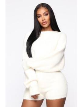 Felicia Fuzzy Short Set   Ivory by Fashion Nova