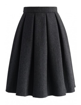 Wool Blend Pleated Twill Skirt by Chicwish