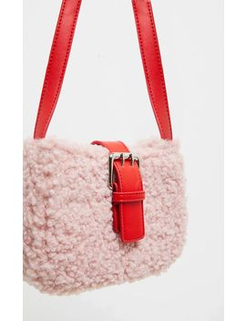 Pink Teddy Fur Red Buckle Shoulder Bag by Prettylittlething