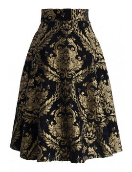 Golden Bouquet Jacquard Midi Skirt Timeless Elegance V Neck Cropped Top Count On You Off Shoulder Ribbed Knit Top In Black Glam V Neck Ribbed Top In Black by Chicwish