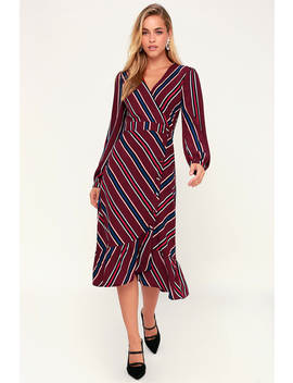 Kendle Burgundy Striped Button Up Midi Dress by Lulus