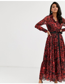 Hope & Ivy Tie Waist Shirt Dress With Button Front In Baroque Bird Print by Hope And Ivy