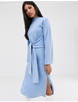 Asos Design Super Soft Crew Neck Tie Front Midi Dress by Asos Design