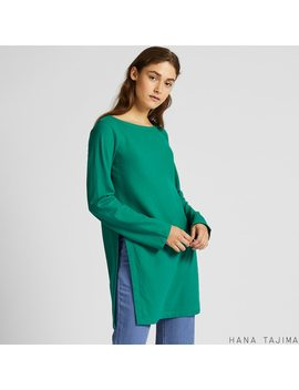 Women Flannel Boat Neck Long Sleeve Tunic (Hana Tajima) by Uniqlo