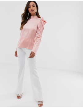 Little Mistress Satin Top With Statement Shoulders In Pink by Little Mistress
