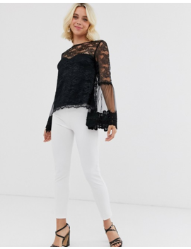 Little Mistress Lace Top With Statement Sleeve In Black by Little Mistress