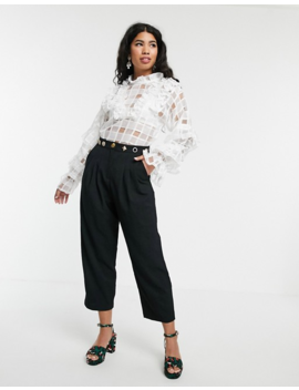Sister Jane Blouse With Ruffle Detail In Sheer Organza Check by Sister Jane