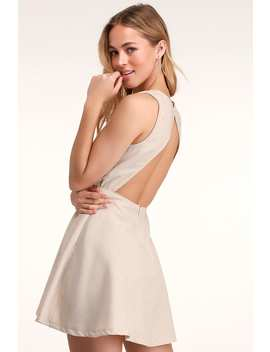 Winsome Nude Backless Skater Dress by Lulus