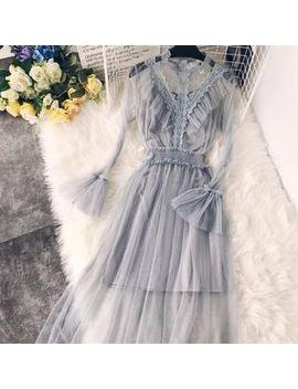 Lucuna   Set: Lace Trim Bell Sleeve Mesh Cocktail Dress + Slipdress by Lucuna