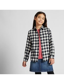 Kids Flannel Checked Long Sleeve Shirt by Uniqlo